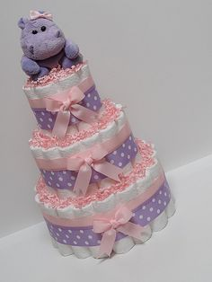 Pink Purple Hippo Diaper Cake Baby Shower by LanasDiaperCakeShop, $59.99