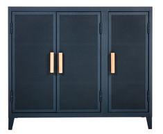 Rangement Vestiaire bas / 3 portes  - Acier perforé & bois Bleu nuit / Poignées chêne - Tolix - Décoration et mobilier design avec Made in Design