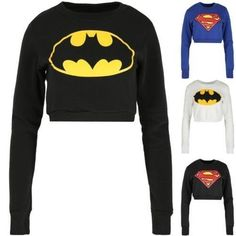 279c9ac95859c Womens Superman Batman Cropped Tops Ladies Fleece Sweatshirts Superhero  Pullover