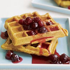 Pumpkin Waffles with Cranberry Syrup! Great Christmas or Thanksgiving breakfast.