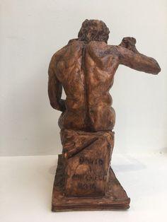 """David J Mitchell 'Figure Blowing a Horn' Ceramic Sculpture (14"""" High)"""