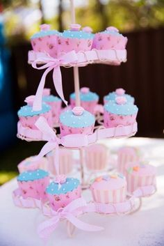 Fantastic cupcakes at a Pastel birthday party!  See more party ideas at CatchMyParty.com!
