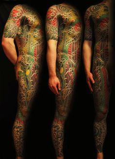 """SHAD """"GRAFFITIS TO TATTOOS PASSING BY PAINTINGS"""" - Irezumi semi-full body. - Source: Bendrix got this from @Thomas Guillemard via. http://www.tattoobyshad.com/gallery.php?n=1=7"""