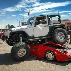 flexrocksrollovers:  Haters gonna Hate!    #FlexRocksRollovers #TnTCustoms #CarCrush #Jeep #JeepJK #Flex