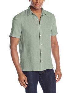 John Varvatos Artisan Men/'s Short Sleeve Marbled Crew Tee Shirt Linen Dark Grey