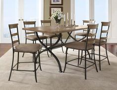 Charleston 7 Piece Counter Height Rectangle Dining Set w/ Ladder Back Stools in Tan - Homeclick Community