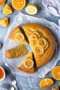 Vegan semolina cake - this delicious eggless semolina cake can be made plain or flavoured with orange and/or lemon. It is perfectly moist & delicious. Vegan Baking Recipes, Vegan Sweets, Healthy Dessert Recipes, Healthy Baking, Vegan Desserts, Orange Recipes Vegan, Vegan Food, Healthy Eats, Healthy Foods