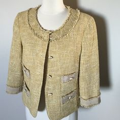 Talbots Petites Size 10 P golden jacket Get look of Chanel with this gorgeous dressy jacket.Made in Thailand .Cotton lining,Very good condition Talbots Jackets & Coats