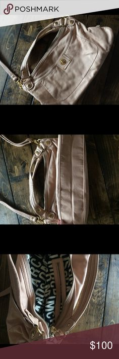 Marc Marc Jacobs Pink Crossbody Purse RARE Leather Gorgeous Marc by Marc Jacobs pale pink leather handbag. Does show color transfer on back from jeans as pictured. Medium to larger bag and comes with large Crossbody strap. Marc By Marc Jacobs Bags Crossbody Bags