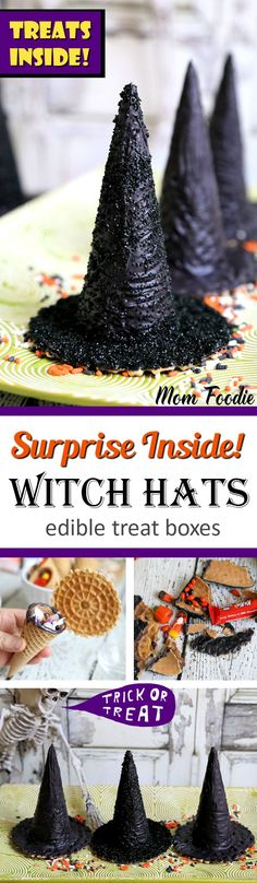 DIY Surprise Inside Halloween Witch Hats edible treat boxes tutorial are a Halloween Party Treat the kids are sure to love. A simple fun Halloween food craft, that will look fantastic on your party table. Dessert Halloween, Halloween Goodies, Halloween Food For Party, Holidays Halloween, Halloween Crafts, Happy Halloween, Halloween Decorations, Halloween 2018, Spooky Halloween