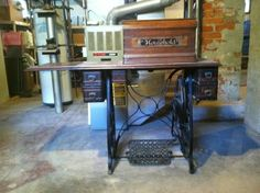 Black Walnut sewing machine table by HOUSEHOLD