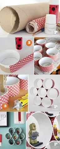 DIY FOR KIDS - I think im going to try doing this - first adding a small flat area in each circle then mod-podge on ripped brown craft paper, let dry, stain it or paint it, and display our shot glass collection from all the places weve been and bought a shot glass. Hmmmm? its just an idea at the moment, so ill let you know if I ever get it done. lol