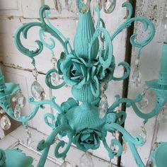 Large chandelier hand painted aqua sea foam by AnitaSperoDesign