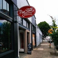 Pine State Biscuits in SE Portland. Had the shrimp and grits here yesterday (7/30/15). If heaven had a restaurant, this is it! My advice is to where pants with elastic in the waist when you visit. Wish I could've tried everything on the menu!