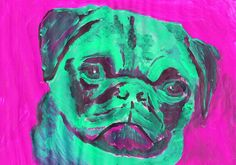 Pug Painting portrait Aquamarine Pink colorful Abstract dog art Puglife Pug gift Signed 29.7 x 42.0cm, 11.69 x 16.53… #dogs #etsy #art