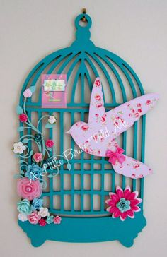 Birdcage Wall Hanger. Jade and Pink