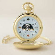 Black Tri Australian Shepherd Puppy Pocket Watch - animal gift ideas animals and pets diy customize