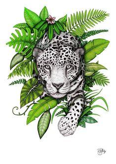 Cheetah Tattoo, Tiger Tattoo, Leg Tattoo Placements, Tatoo Manga, Arte Com Grey's Anatomy, Jaguar Tattoo, Jungle Tattoo, Jaguar Animal, Tiger Illustration