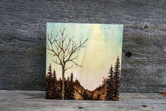 Spring Sky Wood burning Art Tree Landscape by TwigsandBlossoms