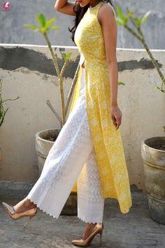 Buy Lemon Printed Modal Rayon Sleeveless Long Kurti Online in India Indian Designer Suits, Indian Suits, Indian Dresses, Party Wear Dresses, Casual Dresses, Fashion Dresses, Casual Outfits, Front Slit Kurti, Kurti Designs Party Wear