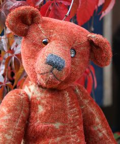 Tobias is a a loveable and elegant traditional teddy bear made in a beautiful deep red genuine vintage German mohair by Barbara Ann Bears