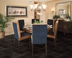 Exciting Dining Room Design With Round Wood Dining Table And Blue Seat Dining Chairs On Black Galaxy Granite Tile Floor Also Cooper Six Lamp Chandelier Decor Ideas Awesome Black Gala. Granite Flooring, Granite Tile, Black Granite, Natural Wood Dining Table, Dining Room Design, Home Renovation, Tile Floor, Dining Chairs, Room Decor