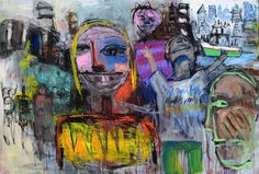 Original art for sale at UGallery.com | Big Love in the City by ALLEN WITTERT | $6,425 | Acrylic painting | 50' h x 74' w | http://www.ugallery.com/ProductDetail.aspx?ProductID=46207