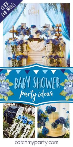 Take a look at this adorable shabby chic baby shower! The dessert table is stunning! See more party ideas and share yours at CatchMyParty.com #catchmyparty #partyideas #shabbychicparty #shabbychicbabyshower #boybabyshower