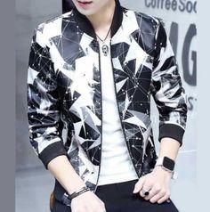 Polka dot bomber jacket for men geometric baseball jacket