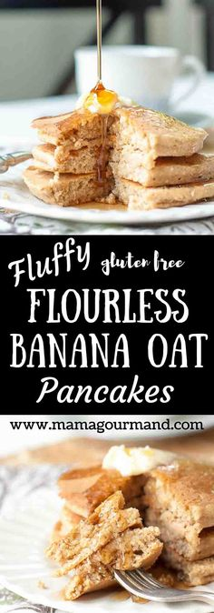 Fluffy Flourless Banana Oat Pancakes blend up quickly in one bowl, have a light, fluffy texture, and a remarkable slightly sweet oat taste. gluten free http://www.mamagourmand.com via @mamagourmand