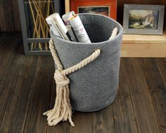FREE SHIPPING Felt Storage Box Container Bag Storage Box Houstehold Storage Bin Storage Basket E1216 by Filzkraft on Etsy