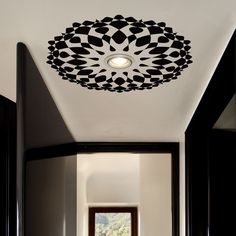 Op Art Ceiling Decal Black/White now featured on Fab.This is AWESOME! This adhesive ceiling decal from Tiva Design features a black and white pattern designed to tantalize the eyes, enveloping your ceiling lamp in a work of optical art. Ceiling Art, Ceiling Rose, Ceiling Design, Ceiling Lights, Office Ceiling, Deco Zen, Interior Decorating, Interior Design, Simple Interior