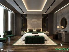 Modern Contemporary Bedroom in New Cairo on Behance Modern Luxury Bedroom, Contemporary Bedroom Decor, Luxury Bedroom Design, Master Bedroom Interior, Modern Master Bedroom, Room Design Bedroom, Luxurious Bedrooms, Modern Contemporary, Bad Room Design