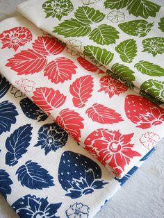 STRAWBERRY FIELD hand screen printed tea towel