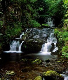 Watersmeet Waterfalls, Lynmouth, Devon, UK | National Trust Waterfalls in a deep, wooded valley