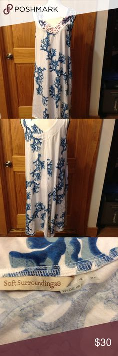 Sofft Surroundings Summer Dress. Soft Surroundings sleeveless, knee length, summer dress. White with a blue design, coral color beads on neckline. NWOT. Never worn. Soft Surroundings Dresses Midi