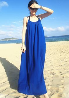 Blue Plain Condole Belt Square Neck Chiffon Dress