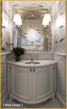 Looking for Bathroom and Powder Room ideas? Browse Bathroom and Powder Room images for decor, layout, furniture, and storage inspiration from HGTV. Hand Painted Wallpaper, Fish Wallpaper, Wallpaper Panels, Bathroom Wallpaper, Unique Wallpaper, Beautiful Wallpaper, Bathroom Mirrors, Wall Mirror, Bathroom Trends