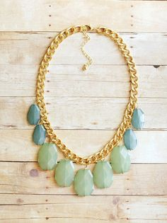 Aqua Mint and Teal Blue Statement Necklace on by ShopNestled