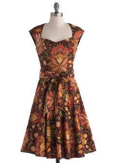 High Noon Harvest Dress. You and your pals are lunching at a local farmhouse-turned-eatery today, and as much as youre excited for fantastically fresh fare, youre even more thrilled to wear this floral dress for the first time! #brown #modcloth