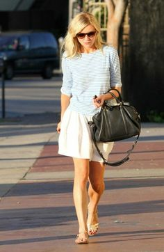 casual outfit - striped top and skirt