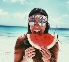 Sea, watermelon and sun #Summer #Ideas #Inspiration #summer #sun #beach #fun #cool #sexy #hair #girl #spirit #energy #playful Inspiration Jean Louis David From: glamour paris.com