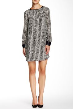 Silk & Faux Leather Trim Miki Dress by Brochu Walker on @nordstrom_rack