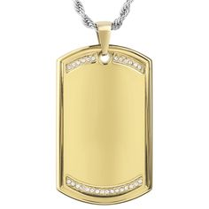 Make a bold statement wearing this stainless steel dog tag pendant featuring a high polish finish with inlaid cubic zirconia stones. This pendant comes complete with a 24 inch rope chain and encloses with a lobster claw clasp.
