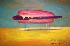 """Hotdog 2"" , acrylic on canvas, 30 x 20 cm"