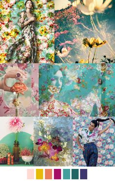 "Let's try to match the ""look"" of the mood board and not so much stay to the colors. There are a lot of ""floral"" pins out there for this board. Palettes Color, Colour Schemes, Color Trends, Color Combos, Color Patterns, Print Patterns, Fashion Design Inspiration, Color Inspiration, Arte Fashion"