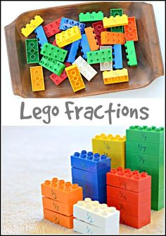Learning about fractions using Lego Duplo from And Next Comes L