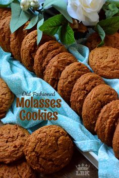 Old Fashioned Molasses Cookies are soft and moist; they are nostalgic and perfect for sharing, gift-giving, or just relaxing at home with an afternoon tea. Easy Cookie Recipes, Cookie Desserts, Cookie Bars, Sweet Recipes, Dessert Recipes, Holiday Baking, Christmas Baking, Christmas Cookies, Old Fashioned Molasses Cookies