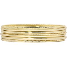 Liz Claiborne Gold-Tone 7-pc. Bangle Set ($18) ❤ liked on Polyvore featuring jewelry, bracelets, accessories, hinged bangle, bangle jewelry, goldtone jewelry, gold tone jewelry and liz claiborne