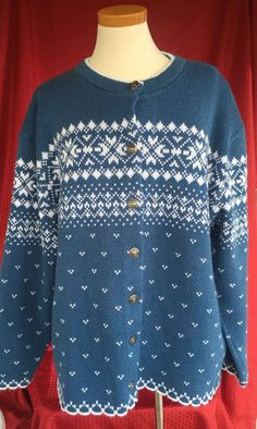 Plus 22W Jersild Icelandic Nordic Scandinavian Fair Isle Sweater Blue White #Jersild #Cardigan